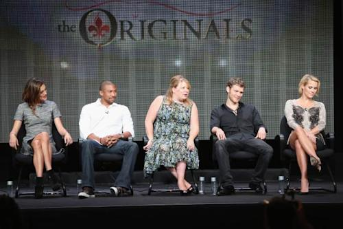Phoebe Tonkin, Charles Michael Davis, executive producer Julie Plec, actors Joseph Morgan and Claire Holt speak onstage during 'The Originals' panel discussion at the CBS, Showtime and The CW portion of the 2013 Summer Television Critics Association tour at the Beverly Hilton Hotel on July 30, 2013 in Beverly Hills, California -- Getty Images