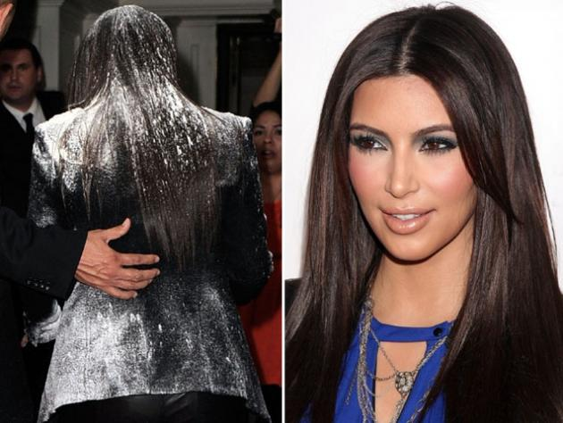 Kim Kardashian is covered in flour during arrivals at the 'True Reflection' Fragrance Launch at The London West Hollywood in West Hollywood, Calif. on March 22, 2012 -- Getty Images