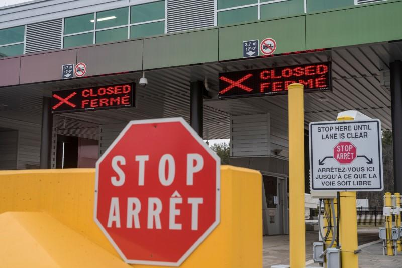 FILE PHOTO: Two closed Canadian border checkpoints in Lansdowne