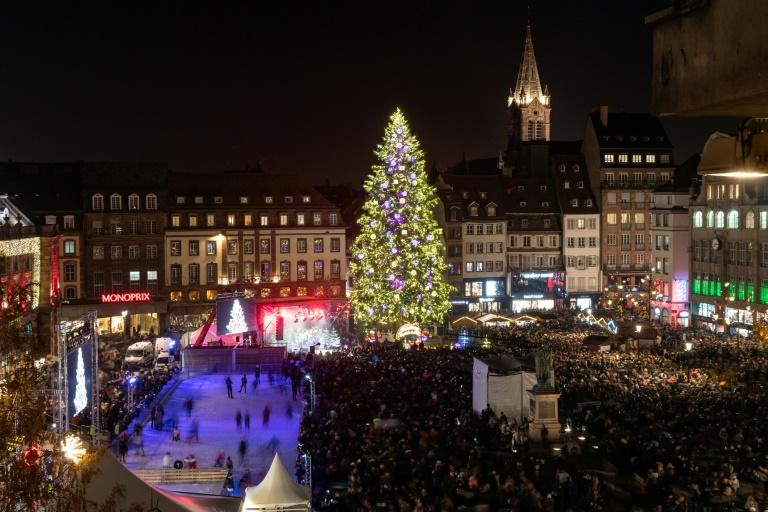 A year on from last year's attack, which has prompted authorities to beef up security, visitors thronged Strasbourg to see the Christmas tree lights illuminate the city's main square at the opening of its 450th traditional festive market