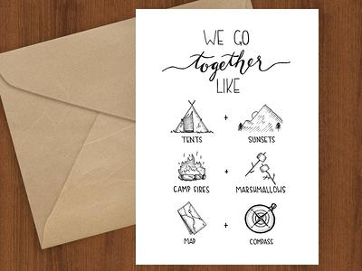 Watercolor Camping Card by Little Truths Studio Marriage = Adventure Greeting Card Wedding Congratulations Card
