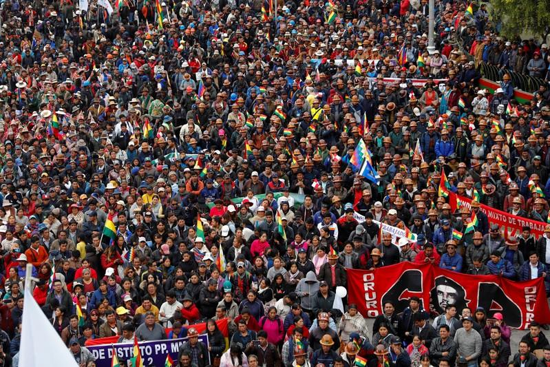 Supporters of Bolivia's President Evo Morales gather during a rally in downtown La Paz