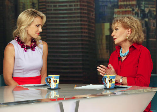 "This image released by ABC shows Elisabeth Hasselbeck and Barbara Walters, co-hosts on ""The View,"" during a broadcast on Wednesday, July 10, 2013, in New York. Wednesday was Hasselbeck's last day on the daytime talk show. Her exit came less than 24 hours after it was announced that Hasselbeck will join Fox News Channel and the ""Fox & Friends"" morning show in September. (AP Photo/ABC, Heidi Gutman)"