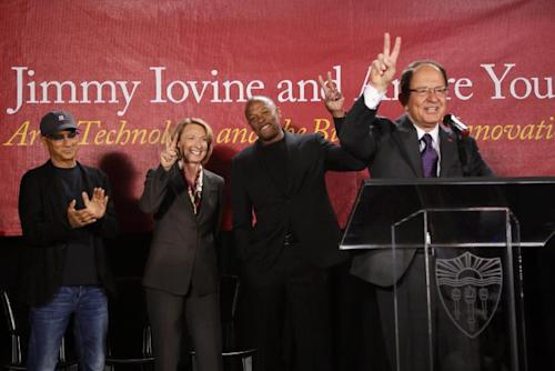 "Jimmy Iovine, the co-founder of Interscope Records, far left, Erica Muhl, dean of th USC Roski School of Fine Arts, hip-hop mogul Andre Young ""Dr. Dre,"" and USC President, Max Nikias, far right, announce a $70 million dollar donation to create the new institute: ""Jimmy Iovine and Andre Young Academy for Arts and Technology and Business Innovation,"" at the University of Southern California, during a news conference at in Santa Monica, Calif. (AP Photo/Damian Dovarganes)"