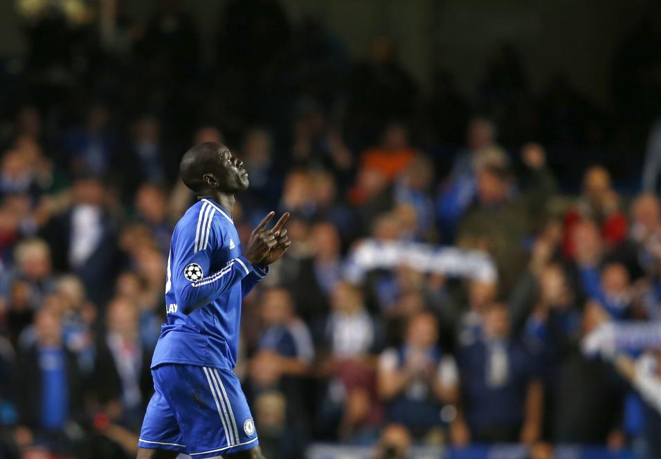 Chelsea's Ba celebrates after scoring a goal against FC Schalke 04 during Champions League soccer match at Stamford Bridge in London