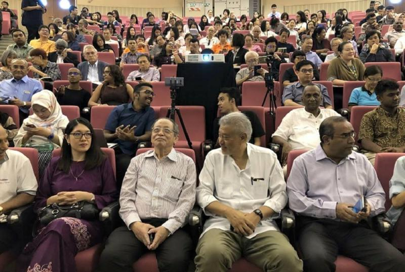 DAP's Lim Kit Siang (seated front row, third from right), at the launch of a book titled '509: The People Have Spoken' at Universiti Malaya in Kuala Lumpur December 7, 2018. — Picture via Facebook/Lim Kit Siang