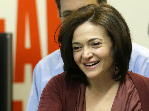 "FILE - This Jan. 15, 2013 file photo shows Facebook chief operating officer Sheryl Sandberg at Facebook headquarters in Menlo Park, Calif. Sandberg's book ""Lean In: Women, Work, and the Will to Lead"" sold 140,000 copies its first week of publication and has gone back to press seven times for additional printings, publisher Alfred A. Knopf announced Wednesday. It has been at No. 1 on Amazon.com's best seller list since coming out March 11 and has also placed high on lists for Barnes & Noble and other sellers. (AP Photo/Jeff Chiu, file)"