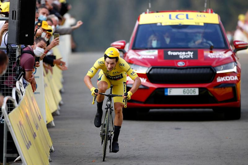 LA PLANCHE FRANCE SEPTEMBER 19 Arrival Primoz Roglic of Slovenia and Team Jumbo Visma Yellow Leader Jersey Disappointment during the 107th Tour de France 2020 Stage 20 a 362km Individual Time Trial stage from Lure to La Planche Des Belles Filles 1035m ITT TDF2020 LeTour on September 19 2020 in La Planche France Photo by Sebastien Nogier PoolGetty Images