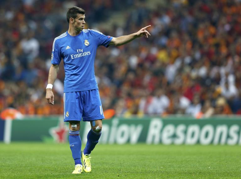 Real Madrid's Bale reacts during their Champions League soccer match against Galatasaray in Istanbul
