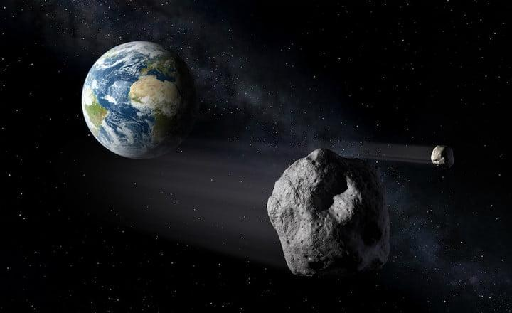 An artist's impression of an asteroid approaching Earth