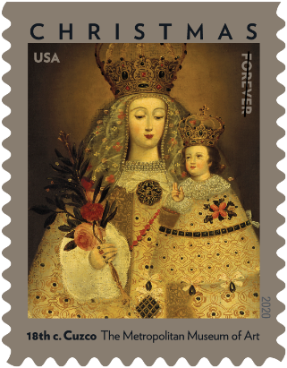 """<p>This stamp features the painting <em>Our Lady of Guápulo, </em>which depicts the Virgin Mary and the Christ Child dressed in ornate gowns and jeweled crowns. The original, created in the 18th century by an unknown Peruvian artist, can be found in the collection at the <a href=""""https://www.metmuseum.org/"""" target=""""_blank"""">Metropolitan Museum of Art</a> in New York.</p>"""