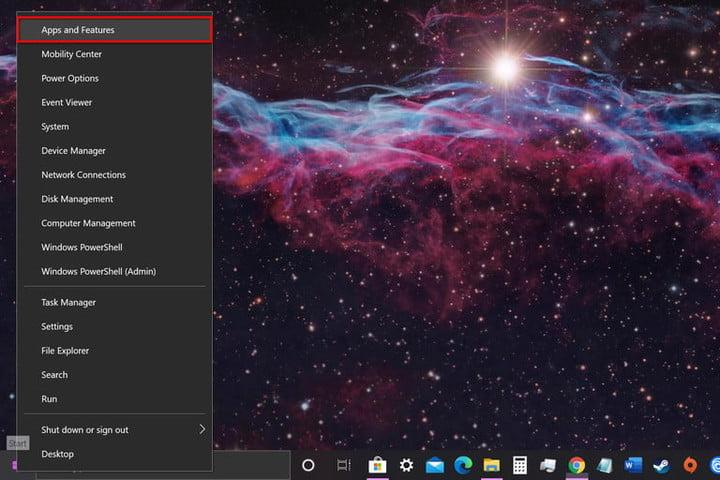 Windows 10 Open Apps and Features