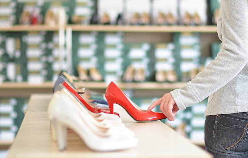 indoor store with ladies shoes