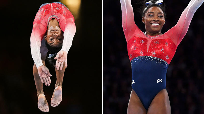 Simone Biles, pictured here at the gymnastics world championships.