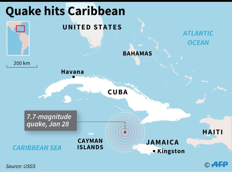 7.7 magnitude quake in the Caribbean Sea
