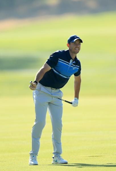Northern Ireland's Rory McIlroy keeps an eye on his second shot at the 17th in the final round of the Genesis Invitational, where he finished tied for fifth after a two-over par 73