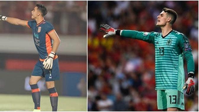 Kiper Timnas Indonesia U-22, Nadeo Argawinata yang disebut mirip dengan penjaga gawang Chelse, Kepa Arrizabalaga. (Instagram Nadeo Argawinata/Kepa Arrizabalaga)