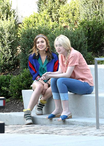Elizabeth Olsen, Dakota Fanning, Spotted on Set