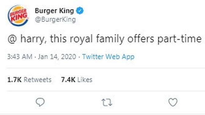 Burger King Tawarkan Pekerjaan untuk Pangeran Harry (Twitter @BurgerKing)