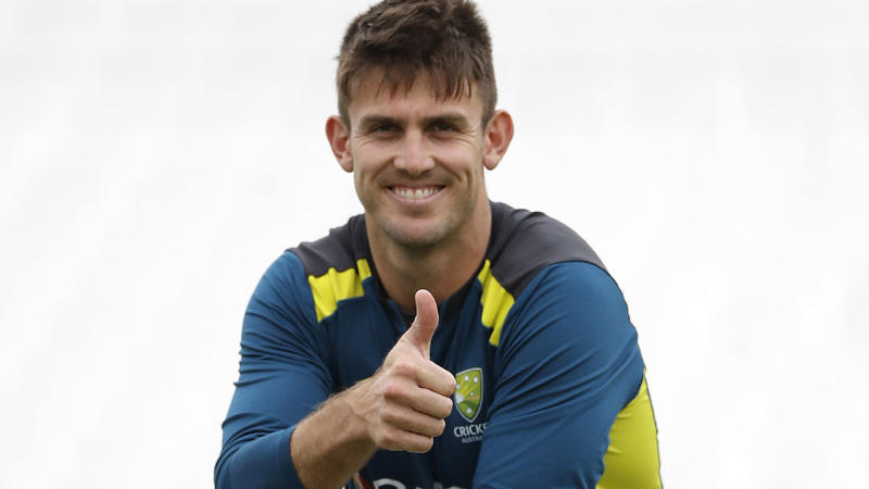 Mitch Marsh, pictured here at a training session before the fifth Test.