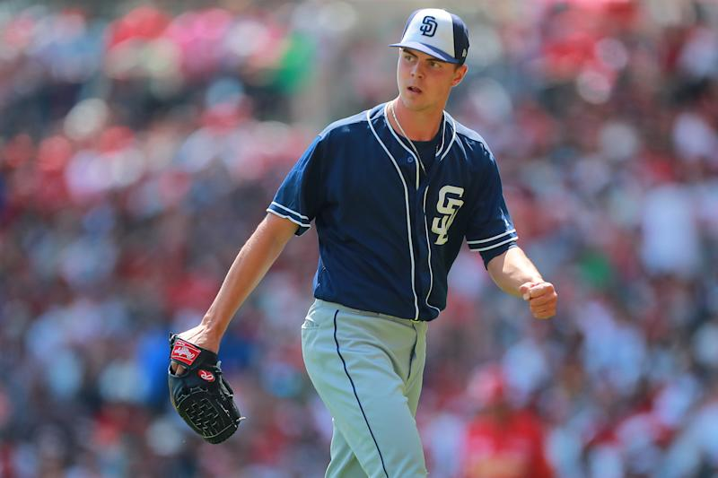 MEXICO CITY, MEXICO - MARCH 24: Mackenzie Gore of San Diego Padres celebrates in the 4th inning during the friendly game between San Diego Padres and Diablos Rojos at Alfredo Harp Helu Stadium on March 24, 2019 in Mexico City, Mexico. (Photo by Hector Vivas/Getty Images)