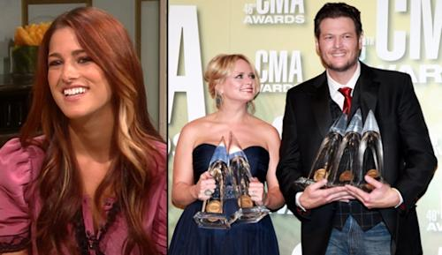 Cassadee Pope, Miranda Lambert and Blake Shelton -- Access Hollywood / Getty Images