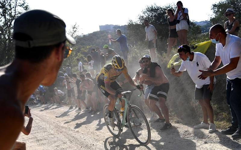 Team JumboVisma Belgian rider Wout van Aert ride during a break away through a dusty gravel road in the oneday classic cycling race Strade Bianche White Roads on August 1 2020 around Siena Tuscany Photo by Marco Bertorello AFP Photo by MARCO BERTORELLOAFP via Getty Images