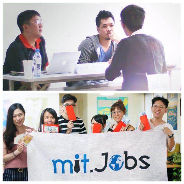 上圖:圖為「kkday(酷遊天)」技術長封賜彥技術團隊於mit.Jobs舉辦的快速面試活動中與求職者對談。 下圖:透過mit.Jobs錄取工作,求職者可獲得100美元(或等價當地貨幣)的「就職祝賀金」。 提供:一起工作科技有限公司