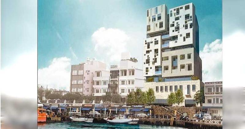 鳳凰旅遊日前宣布將在小琉球白沙港前蓋地上10層、地下1層的飯店,有面港第一排景觀,兼具景觀及交通便利性。(鳳凰旅遊提供/潘建志屏東傳真)