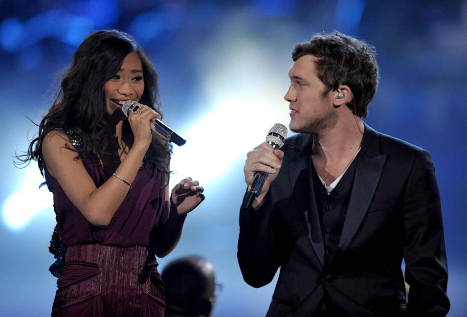 "Finalists Jessica Sanchez, left, and Phillip Phillips perform onstage at the ""American Idol"" finale on Wednesday, May 23, 2012 in Los Angeles. (Photo by John Shearer/Invision/AP)"
