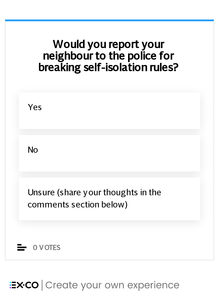 Would you report your neighbour for breaking self-isolation rules