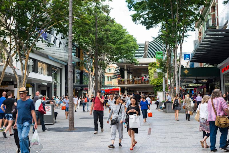 Pictured: Shoppers and Australian workers in Brisbane mall. Image: Getty