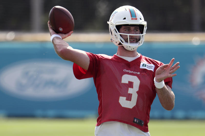 "Amid a quarterback battle in Miami, coach Brian Flores thinks that Josh Rosen has made significant improvements ""really across the board."""
