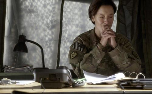 "This image provided by WIGSCO, LLC shows Jennifer Beals, as Maj. Jo Stone in WIGS' ""Lauren,"" reacting as she learns one of the soldiers under her command has reported being raped. The three-part Web series gives a close-up look at the challenges and obstacles women service members face in trying to find justice after being raped. (AP Photo/WIGSCO, LLC )"