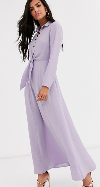 While Meghan's dress may be sold out, we found a similar purple number online. Photo: ASOS