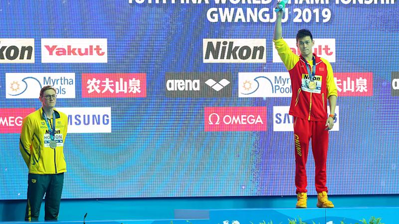 Mack Horton refused to take the podium with Sun Yang after the 400m final. (Photo by Maddie Meyer/Getty Images)