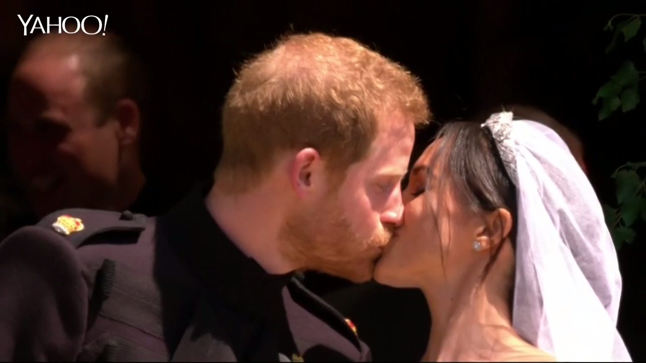 Prince Harry, Meghan Markle's first kiss as husband and wife
