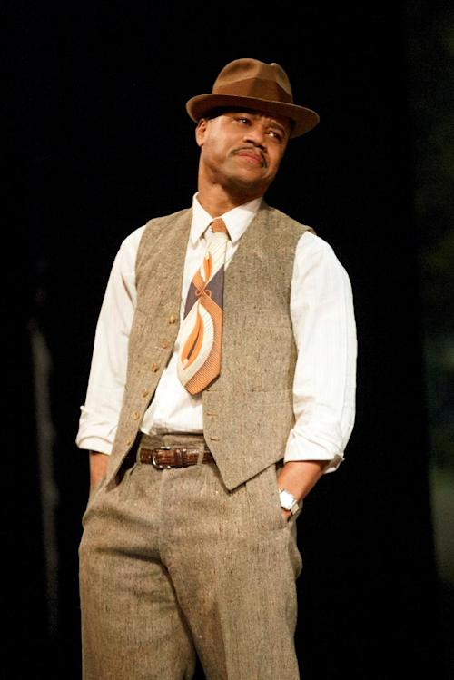 """This theater publicity image released by The Hartman Group shows Cuba Gooding Jr. during a performance of """"The Trip to Bountiful,"""" at the Stephen Sondheim Theatre in New York. Gooding co-stars in the revival of Horton Foote's masterpiece about _ appropriately enough _ getting back home. He stars opposite Cicely Tyson, Vanessa Williams, Condola Rashad and Tom Wopat. (AP Photo/The Hartman Group, Joan Marcus)"""