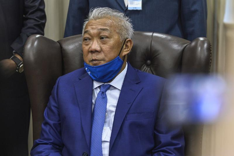 Kinabatangan MP Datuk Seri Bung Moktar Radin is pictured during a press conference in Parliament, Kuala Lumpur August 18, 2020. ― Picture by Miera Zulyana