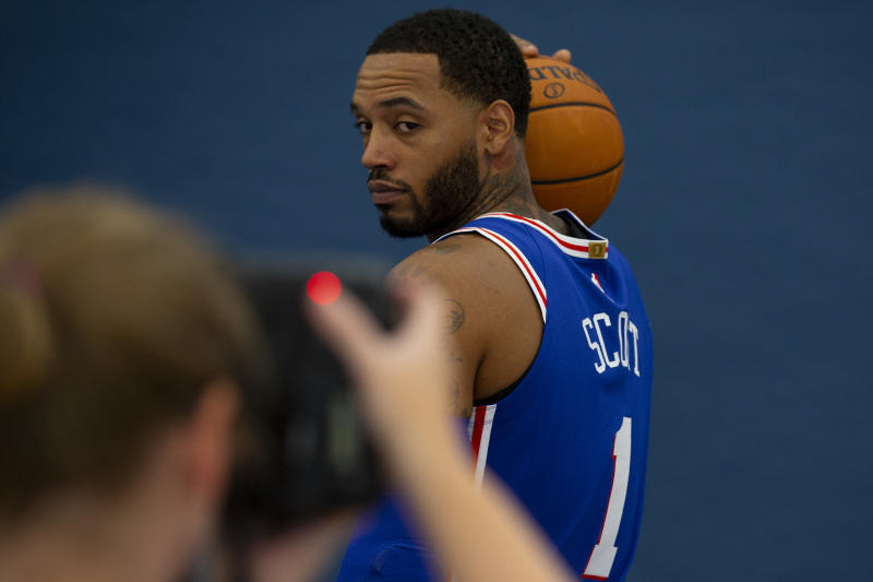 CAMDEN, NJ - SEPTEMBER 30: Mike Scott #1 of the Philadelphia 76ers poses for a portrait during the Philadelphia 76ers media day at the 76ers Training Complex on September 30, 2019 in Camden, New Jersey. NOTE TO USER: User expressly acknowledges and agrees that, by downloading and or using this photograph, User is consenting to the terms and conditions of the Getty Images License Agreement. (Photo by Mitchell Leff/Getty Images)