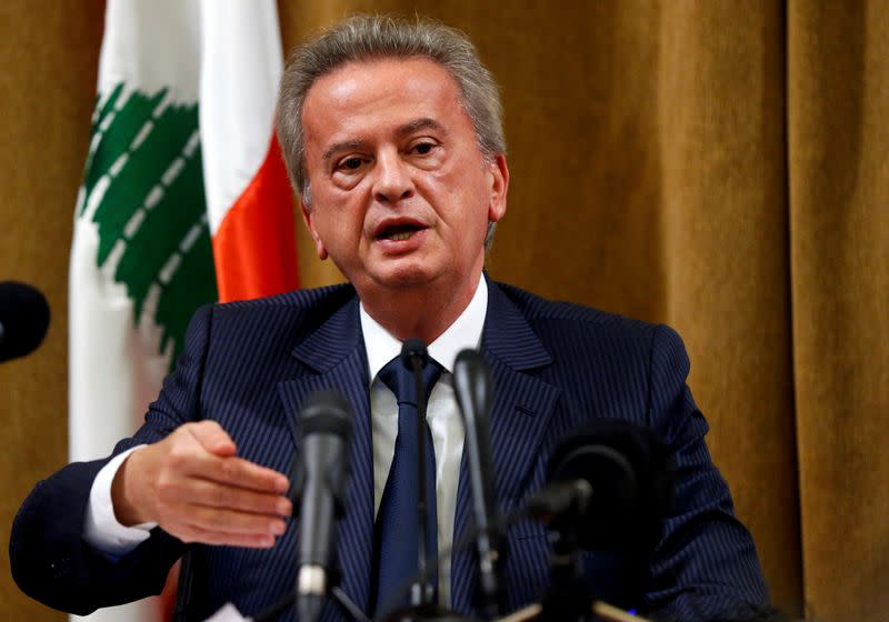 FILE PHOTO: Lebanon's Central Bank Governor Riad Salameh speaks during a news conference at Central Bank in Beirut