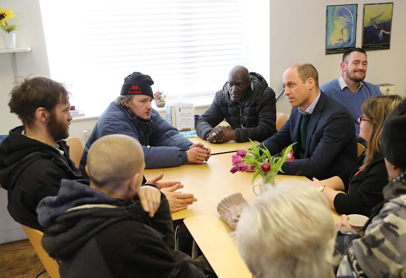 The Duke of Cambridge (right) during a visit to the Beacon Project, a day centre which gives support to the homeless, excluded and marginalized in Mansfield, Nottinghamshire.
