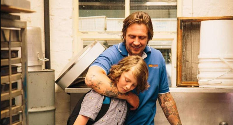Damian Hill, pictured with his stepson Ty Perham in 'West of Sunshine, has died at the age of 42.