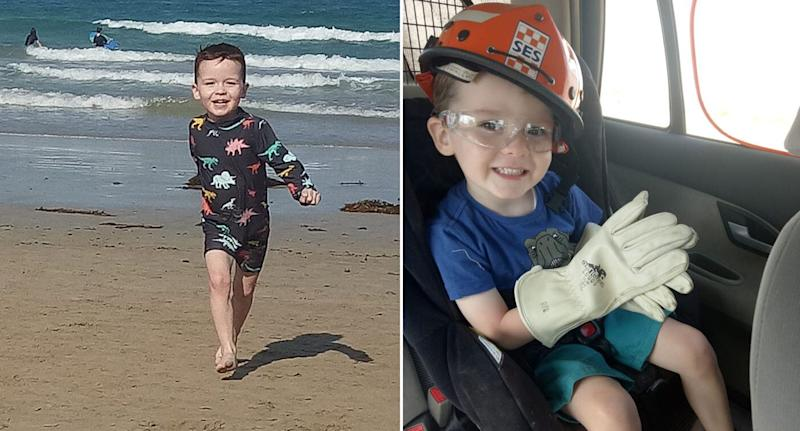 Left is a photo of Darragh, who has cystic fibrosis and faces deportation with his Irish family, playing at the beach and right is the boy sitting in a car seat in volunteer SES gear.