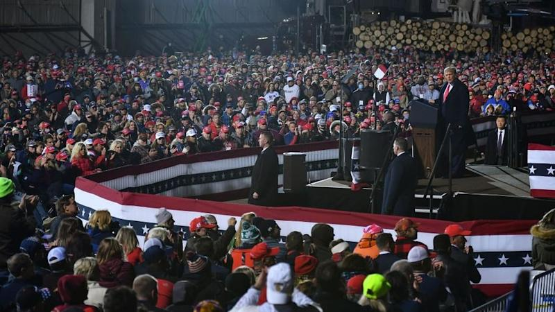 Few attendees wore masks at Mr Trump`s rally in Duluth