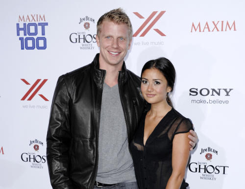 "FILE - This May 15, 2013 file photo shows TV personalities Sean Lowe, left, and Catherine Giudici from ""The Bachelor,"" at the 2013 Maxim Hot 100 celebration in Los Angeles. Lowe and Giudici will marry live on ABC on Jan. 26. They made the announcement on ""Good Morning America,"" Monday, Oct. 14. Lowe was named the franchise's 17th bachelor. ""The Bachelor: Sean and Catherine's Wedding"" will be hosted by Chris Harrison. (Photo by Dan Steinberg/Invision/AP, File)"