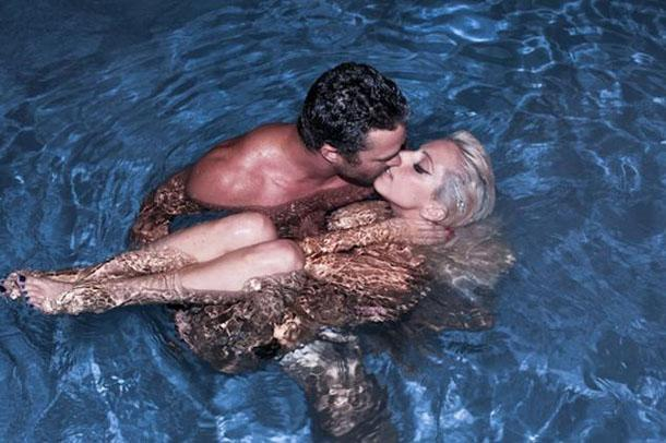 Lady Gaga and Boyfriend Taylor Kinney Share Smooch While Skinny-Dipping