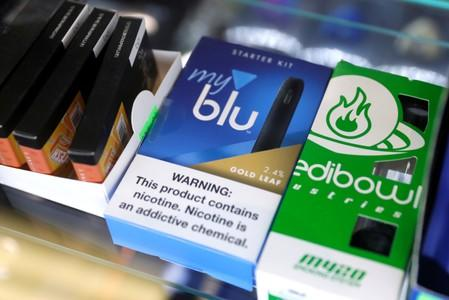 Vaping products are displayed for sale in a shop in Manhattan in New York City