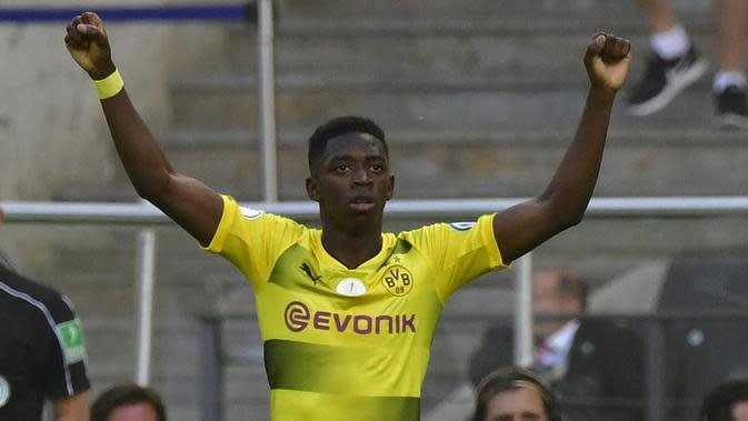 Pemain Dortmund asal Prancis Ousmane Dembele ramai diperbincangkan pada bursa transfer mengingat dirinya menjadi incaran Barcelona. (AFP/John Macdougall)