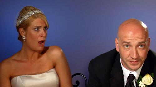 "This image from video released by WE TV shows Kirsten Walker, left, and her husband Seth, a couple showcased on the sixth season of the popular wedding series ""Bridezillas."" Walker was a theater actor before hitting the show with enough drama for an Oscar, warring with her band, lamenting that her dress had been cut too short and sobbing on her wedding day. ""Bridezillas"" is ending its decade-long run, having morphed from a relatively sane look at stressed-out, spendy New York brides into a hit for WE tv featuring off-the-hook couples from all walks of life around the country. (AP Photo/WE TV)"